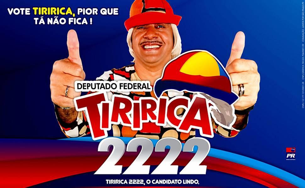 """Reprodução de panfleto da campanha eleitoral do candidato a deputado federal pelo PR, Tiririca: """"Pior que tá, não fica"""""""