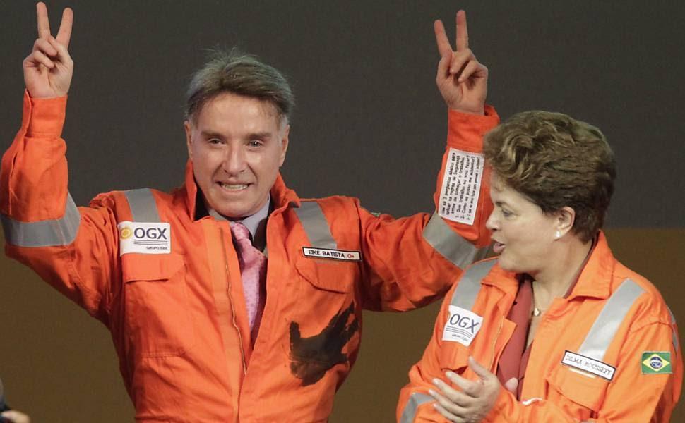 Eike Batista e presidente Dilma Rousseff durante cerimônia do início da produção da OGX
