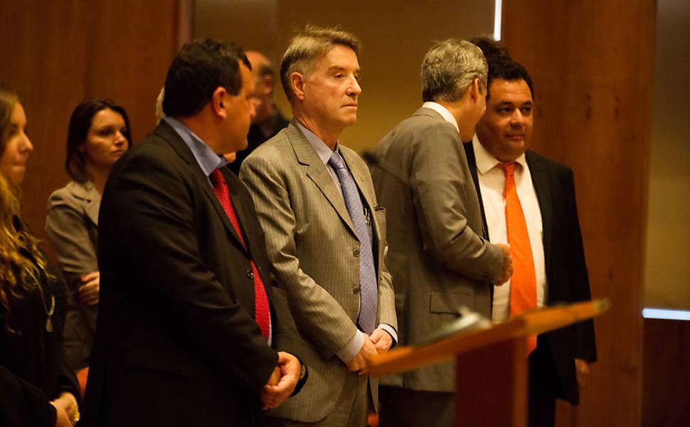 O empresário Eike Batista acompanha a audiência em que é réu na Justica Federal no Rio de Janeiro
