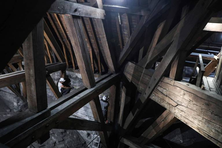 (FILES) In this file photo taken on June 26, 2018, workers measure a wall as they start the restoration works on an ancient and damaged part of Notre Dame cathedral (cathedrale Notre-Dame de Paris) in Paris. - A fire broke out at the landmark Notre-Dame Cathedral in central Paris on April 15, 2019 afternoon, potentially involving renovation works being carried out at the site, the fire service said. (Photo by Ludovic MARIN / AFP)